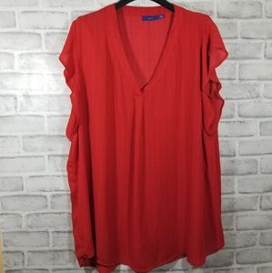 APT9 top shirt blouse red sleeve